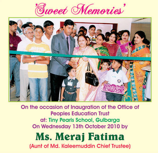 On the occasion of Inaugration of the Office of Peoples Education Trust