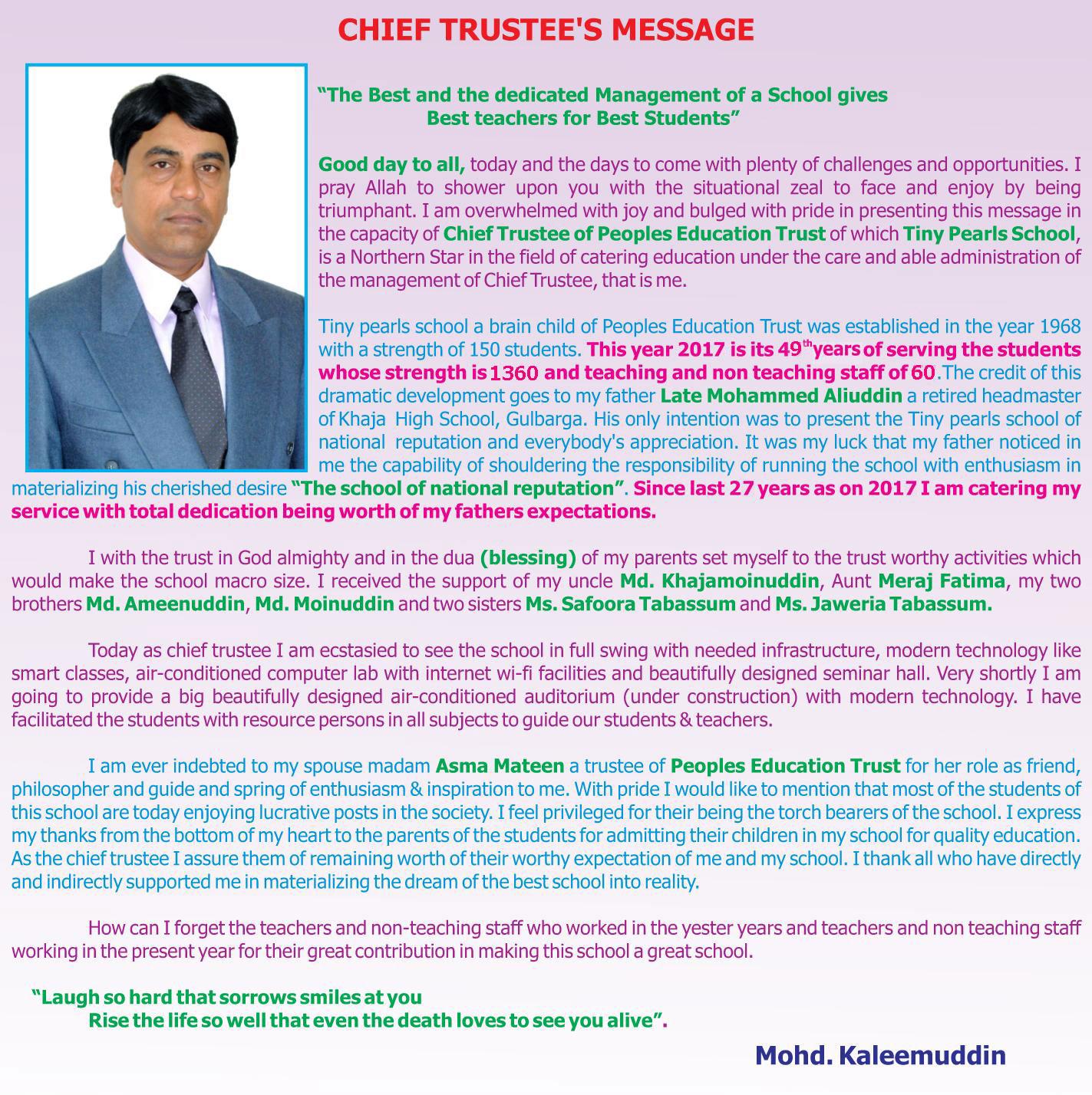 tiny pearls school chief-trustee-message