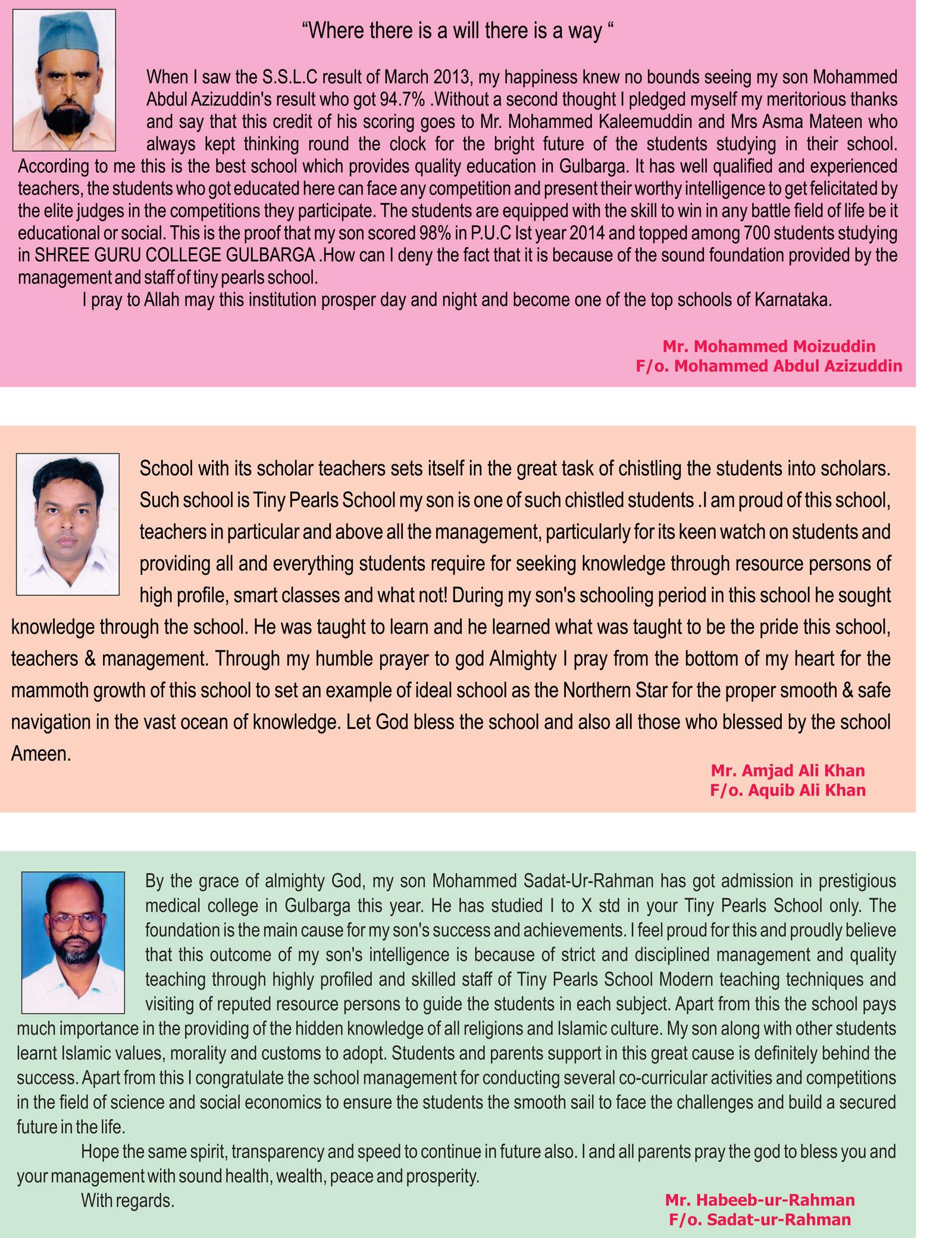 parents-message Gulbarga schools